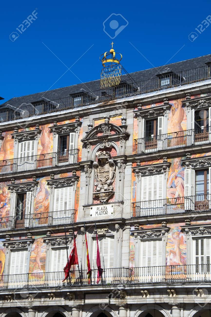 Architettura A Madrid architettura in plaza mayor, madrid, spagna. È la proprietà spagnola di  interesse culturale