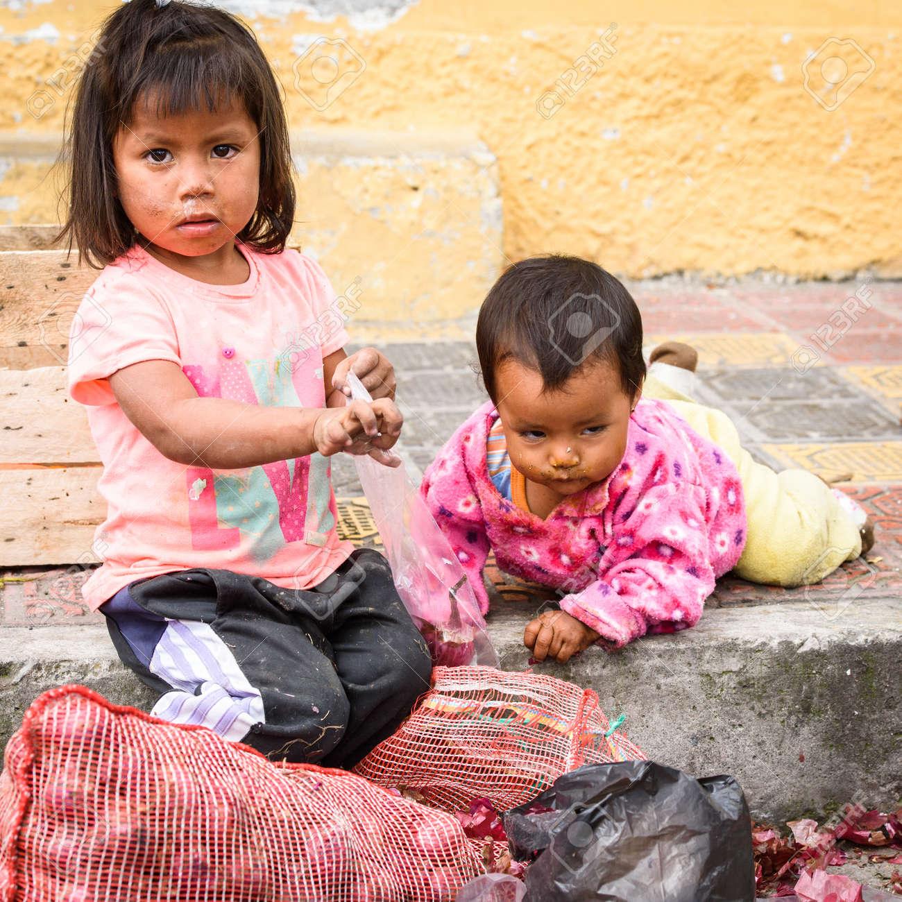 Otavalo ecuador jan 3 2015 unidentified ecuadorian children with onion at the
