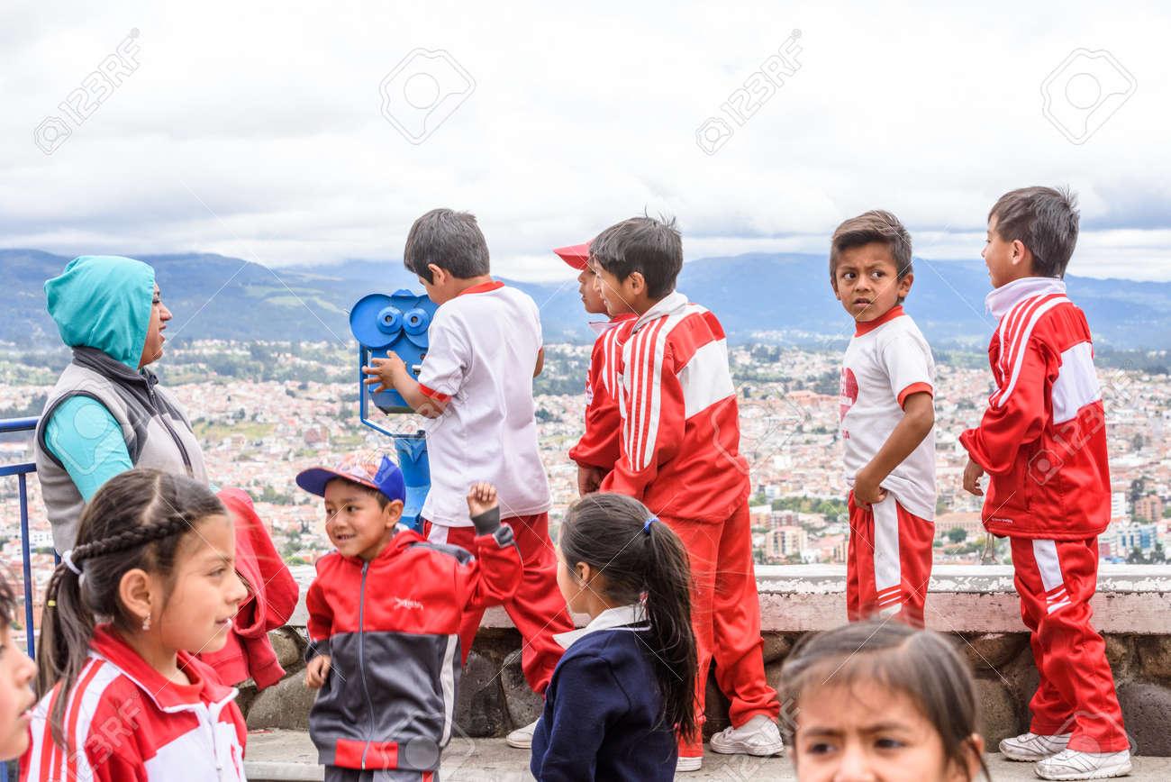 Cuenca ecuador jan 9 2015 unidentified ecuadorian children in sport clothes look