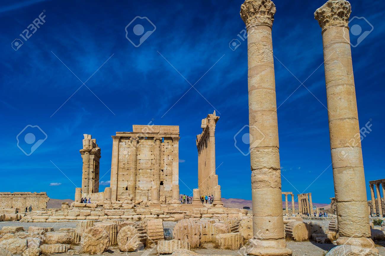 Columns In Palmyra Syria Unesco World Heritage Site Stock Photo