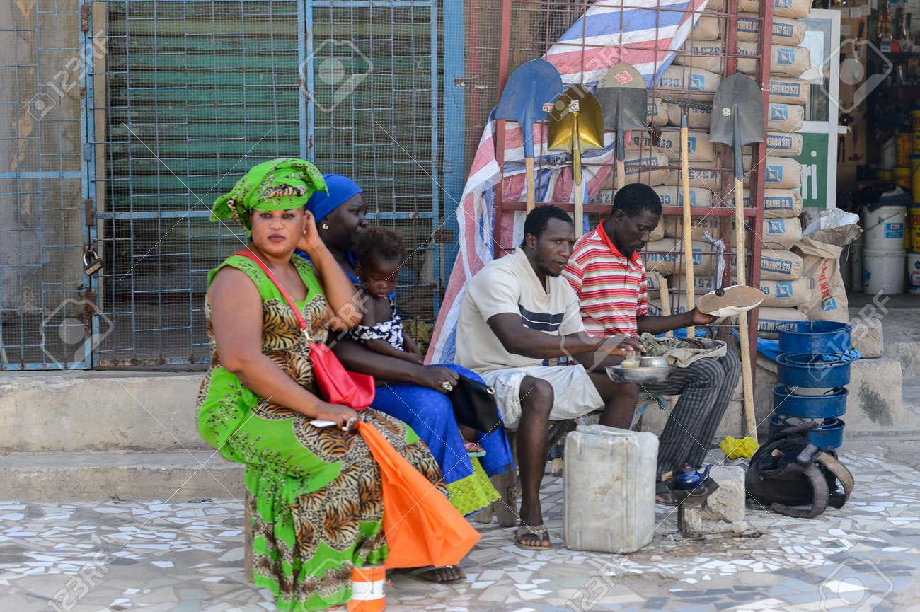 ZIGUINCHOR, SENEGAL - APR 28, 2017: Unidentified Senegalese people