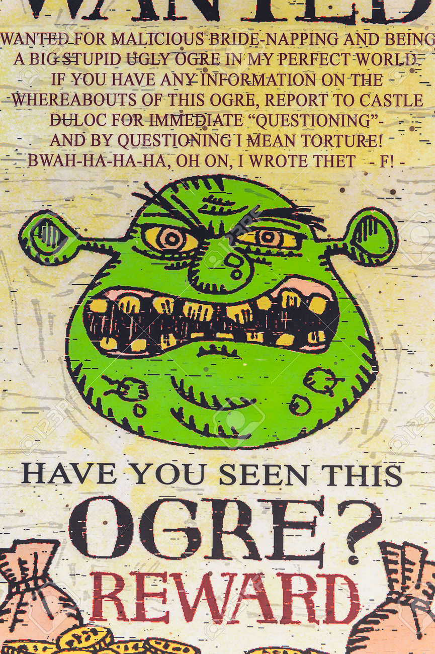 Los Angeles Usa Sep 27 2015 Wanted Ogre In Shrek Area In