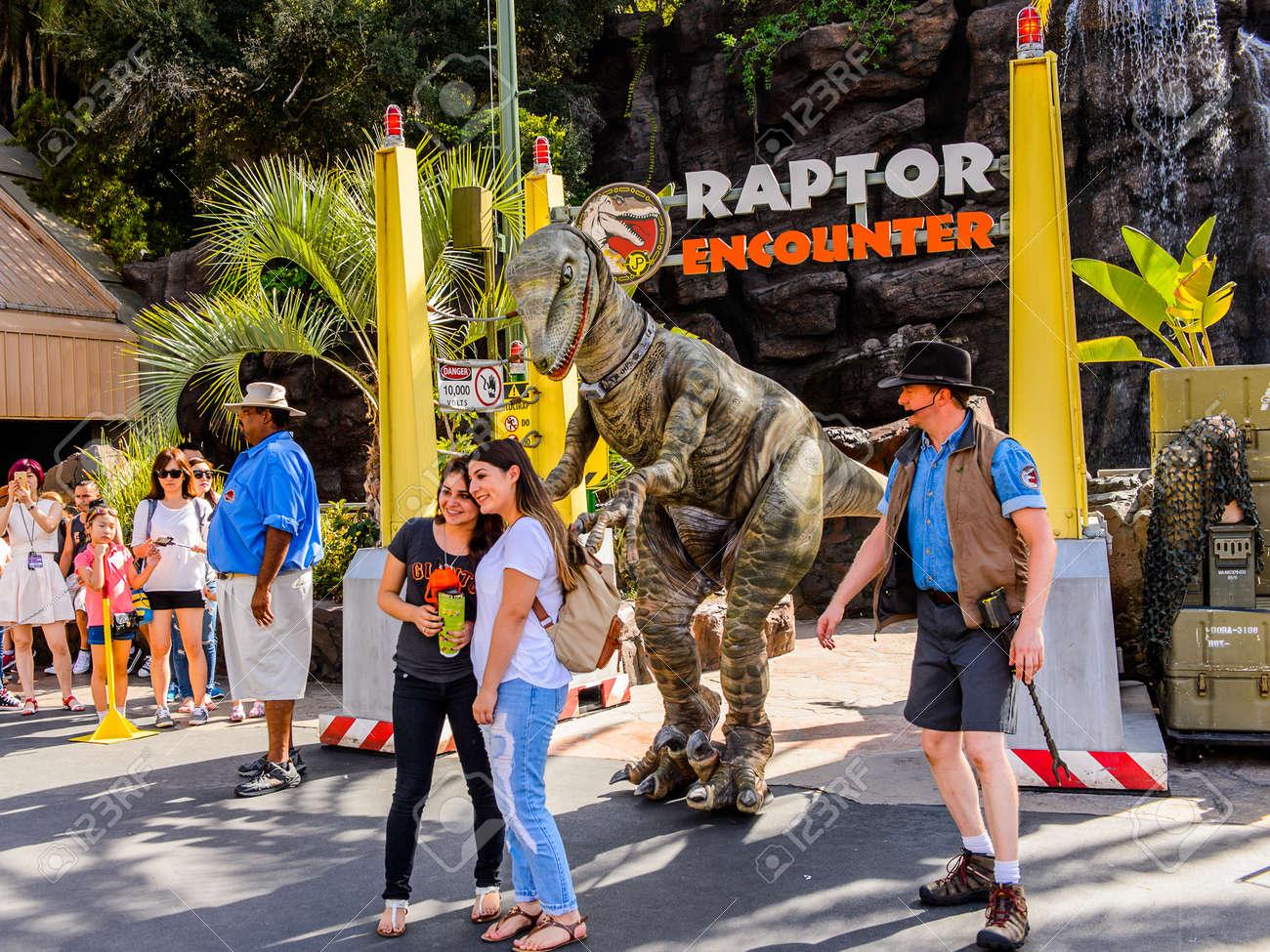 LOS ANGELES, USA - SEP 27, 2015: Velociraptor encounter attraction