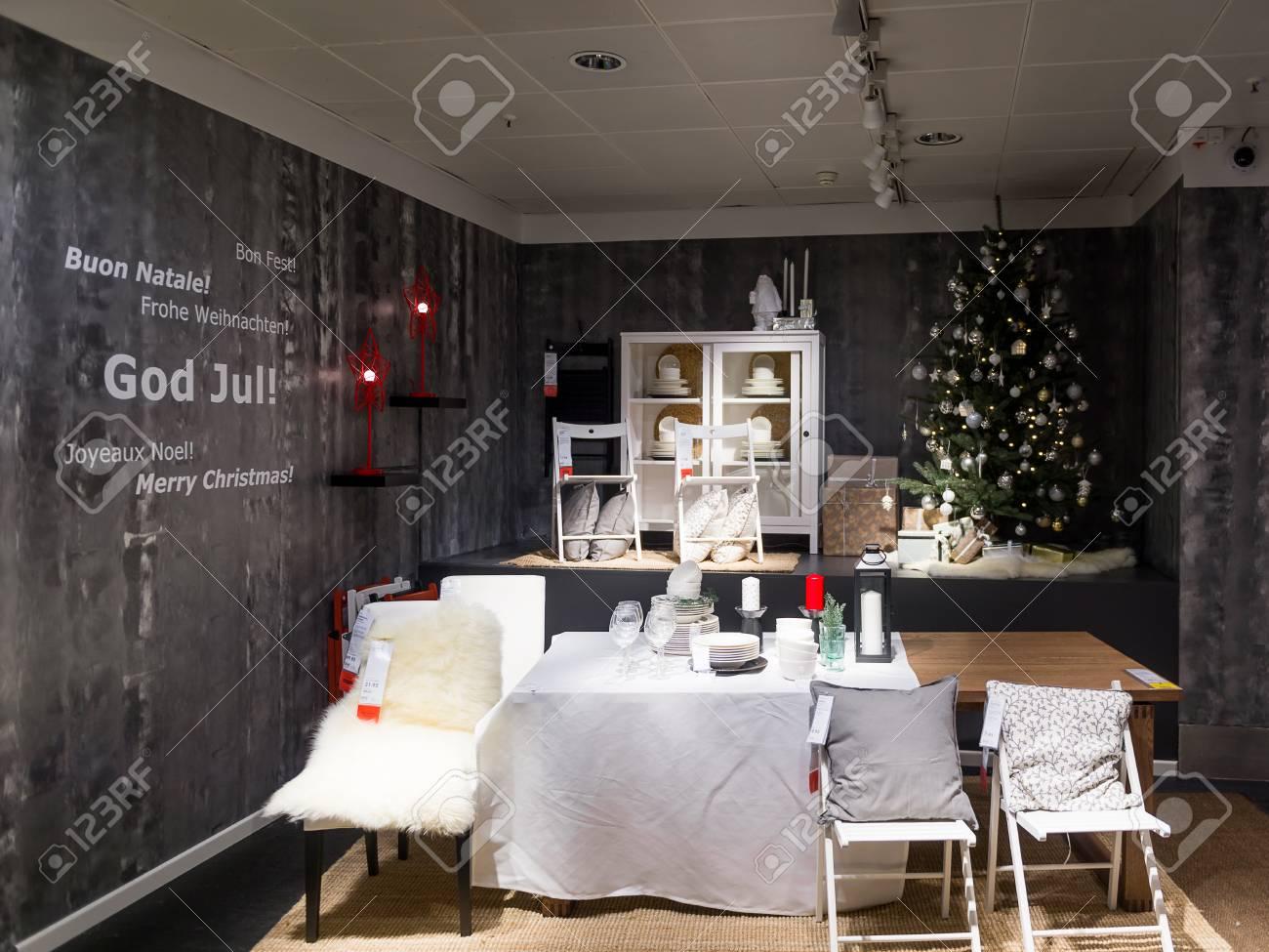 Ikea Weihnachten.Lugano Switzerland Nov 4 2017 Christmas Table Ikea Shop