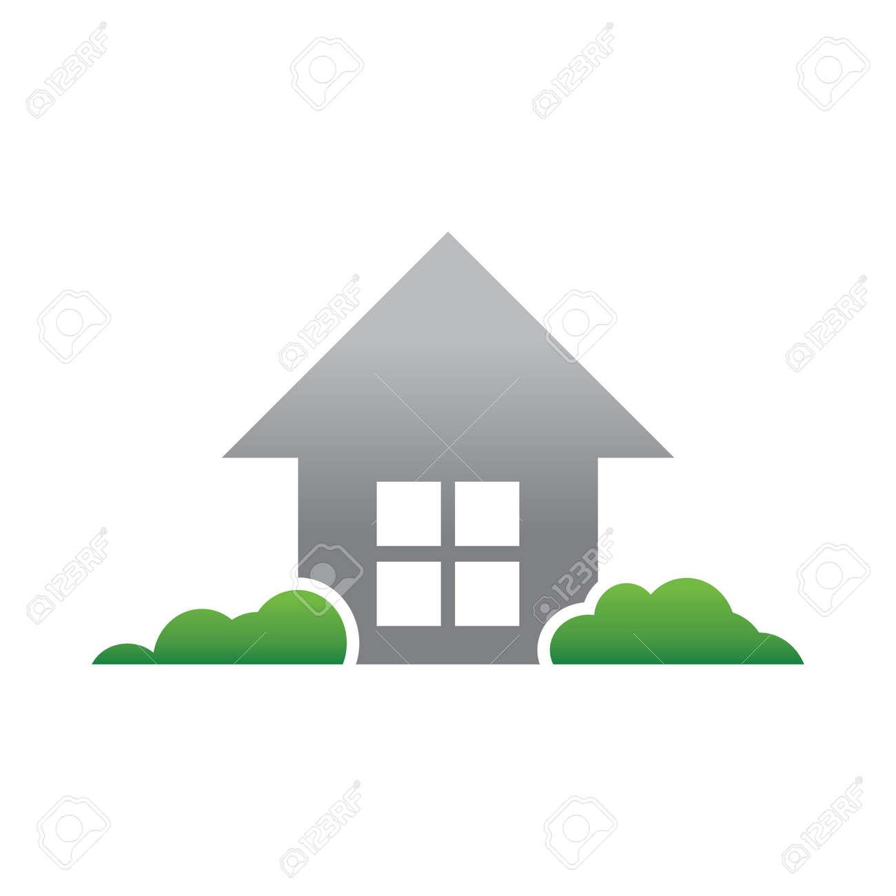 simple house green garden logo template stock vector 48293594
