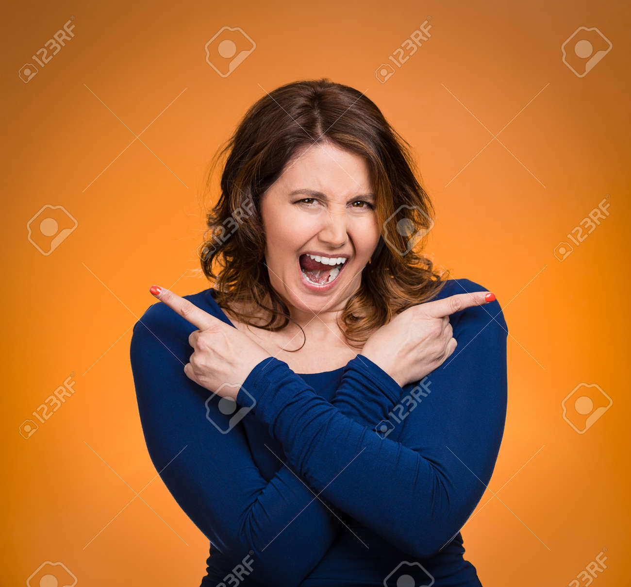 Portrait Confused Young Woman Pointing In Two Different Directions Stressed Frustrated Screaming