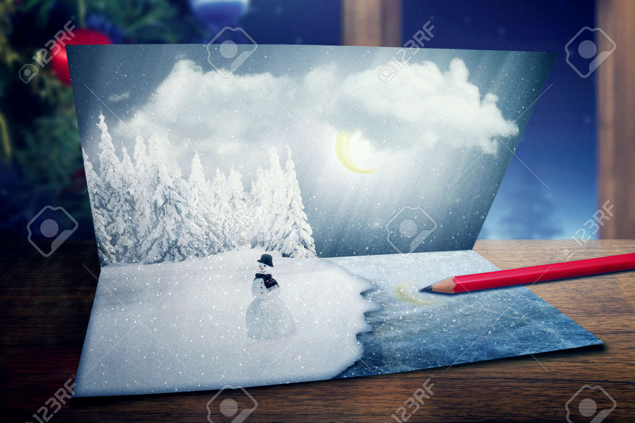 merry christmas new year nature landscape postcard with snowman happy holiday cold winter season