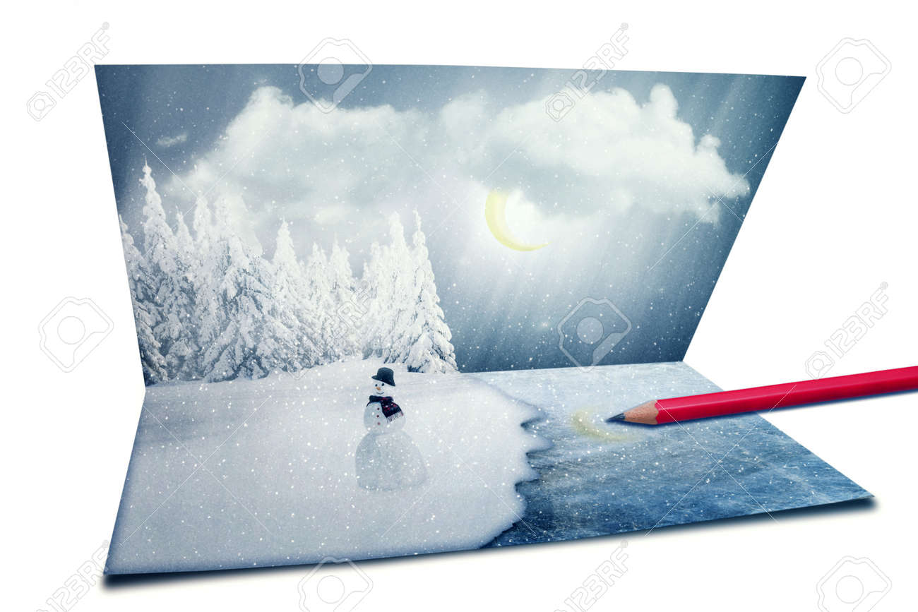 merry christmas new year nature landscape postcard snowman merry christmas new year nature landscape postcard snowman happy holiday cold winter season