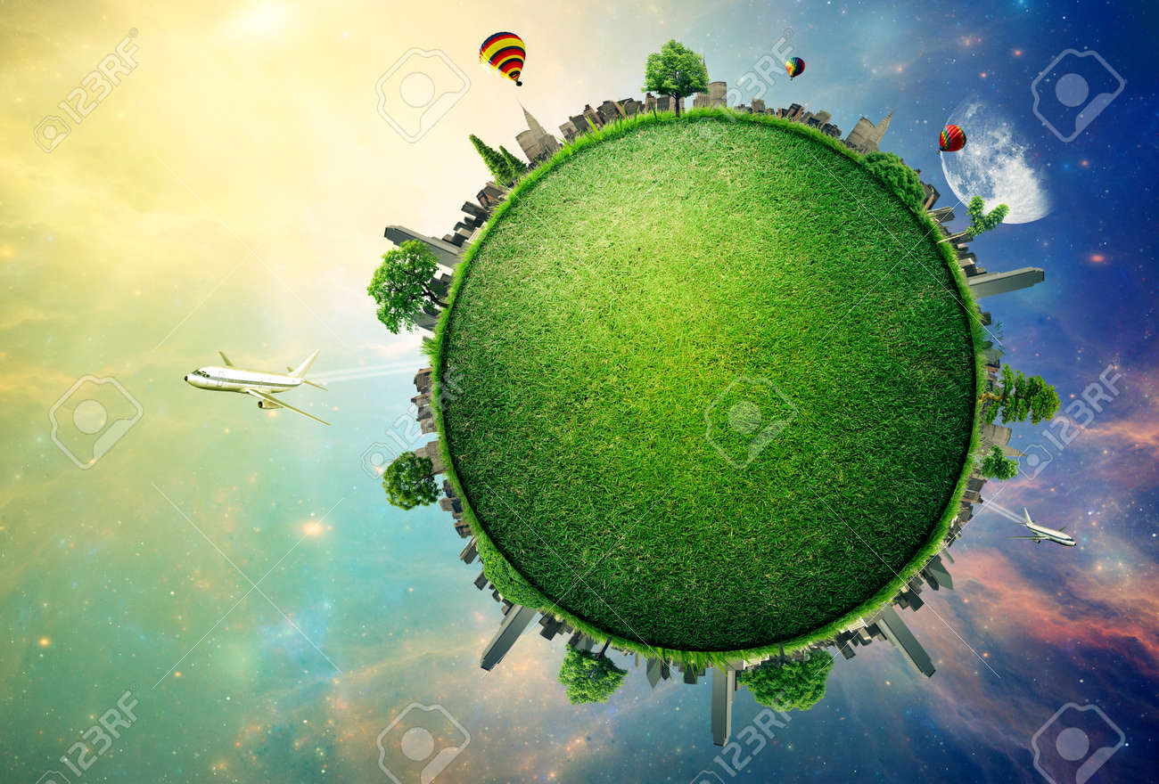 Green planet earth covered with grass city skyline. Stock Photo - 42813754