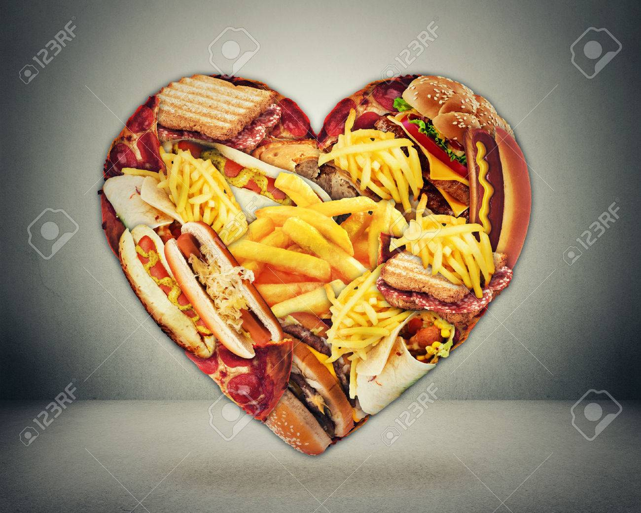 Heart health and bad diet stroke risk concept heart shaped of heart health and bad diet stroke risk concept heart shaped of fast junk fatty food biocorpaavc