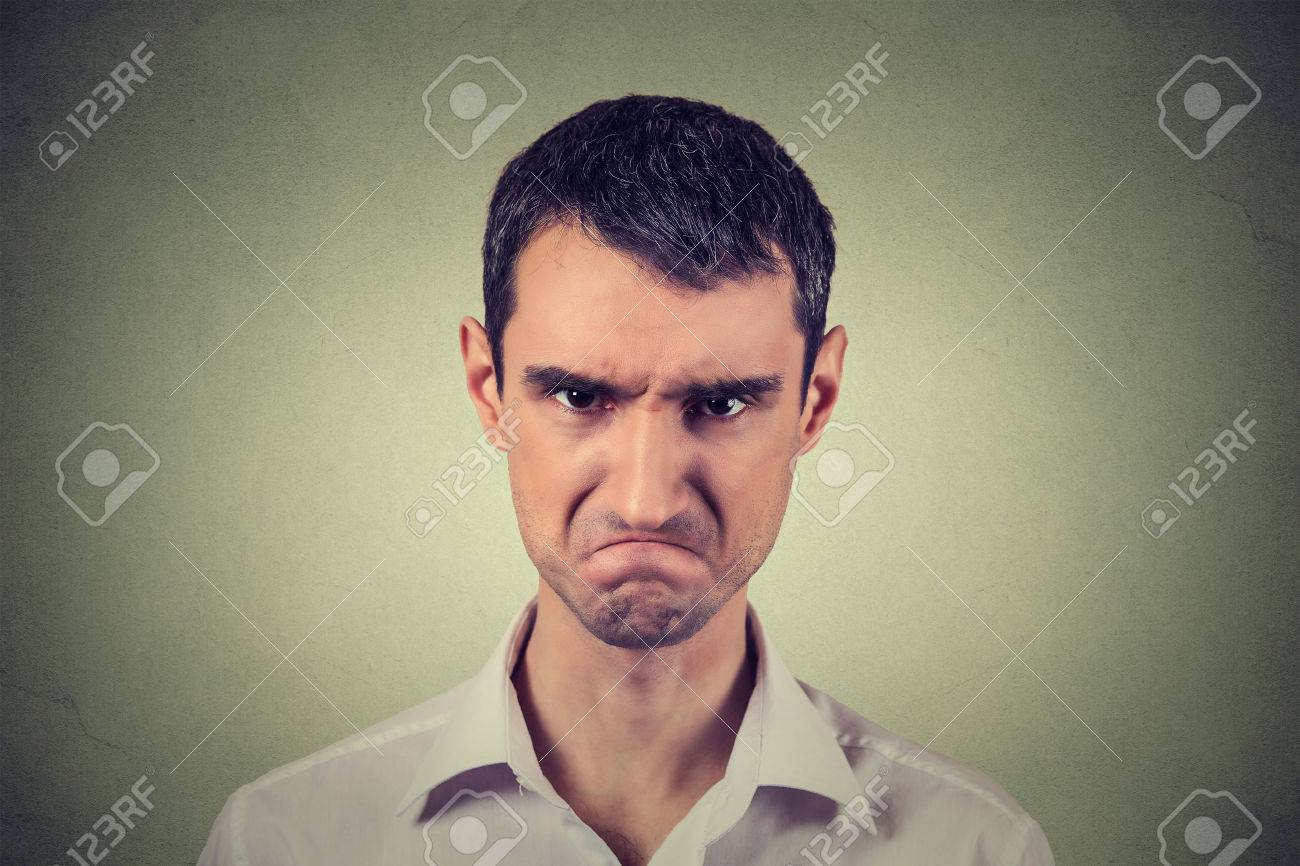 Closeup portrait of angry young man about to have nervous atomic breakdown isolated on gray background. Negative human emotions facial expression feelings attitude - 51742691