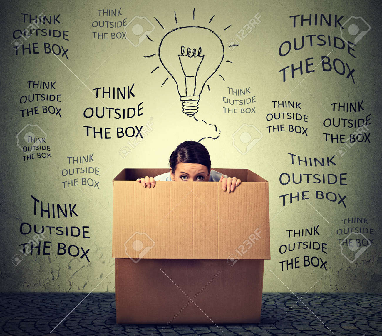 outside the box office. Beautiful Outside Stock Photo  Think Outside The Box Concept Scared Young Woman Sitting  Inside Isolated On Gray Office Wall Background And Outside The Box Office