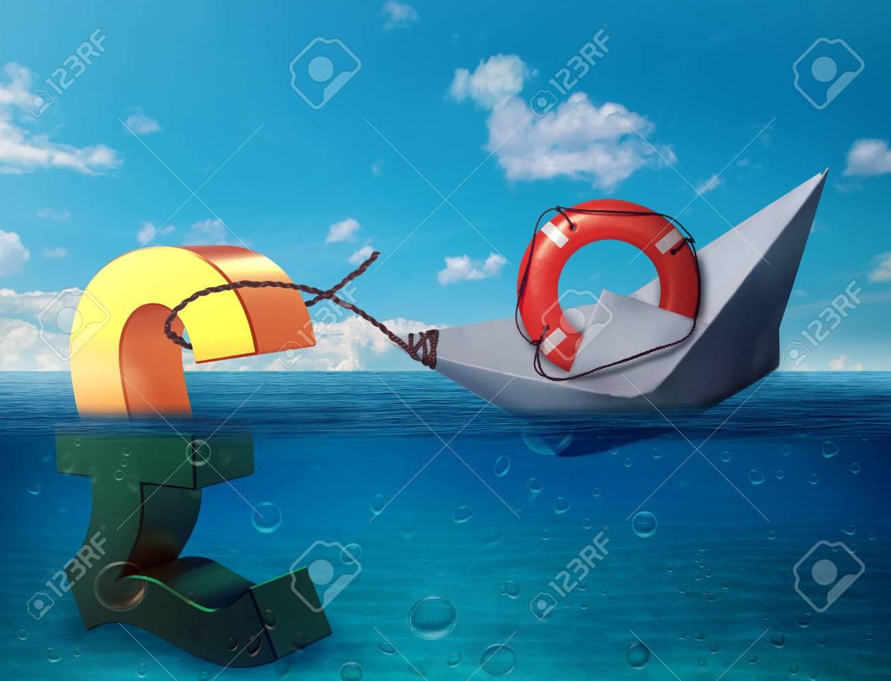 Pound Sinking In The Sea As Symbol Of Future Uk Economy Depression