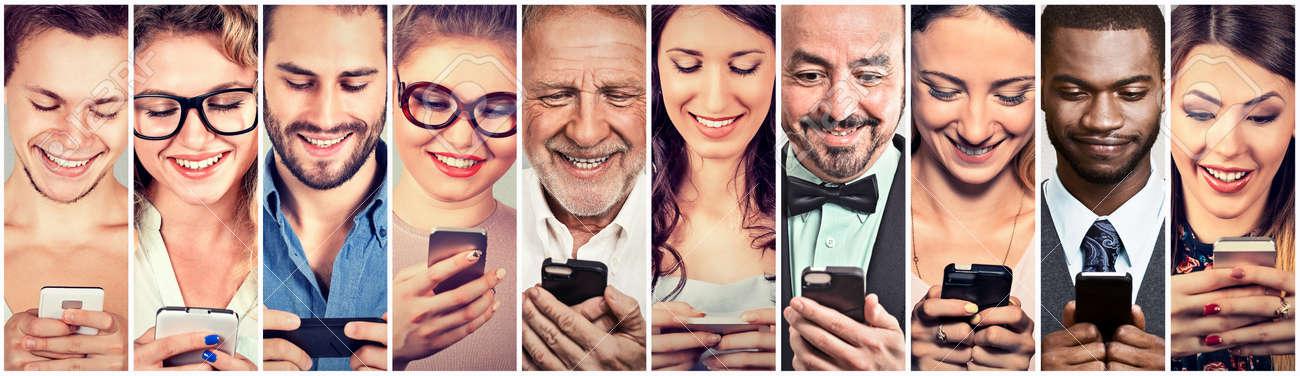 Happy people using mobile smart phone - 64446350
