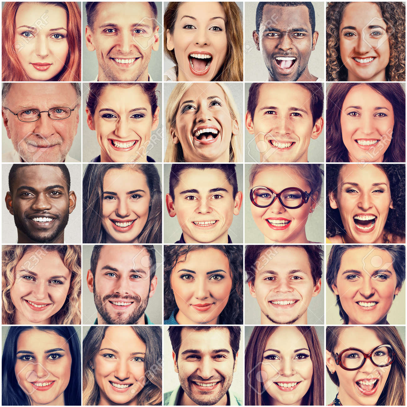smiling faces happy group of multiethnic people men and women stock