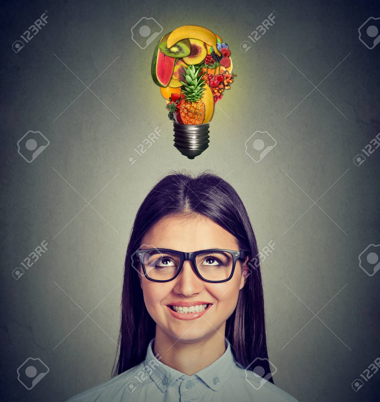 eating healthy diet tips concept headshot of a woman looking