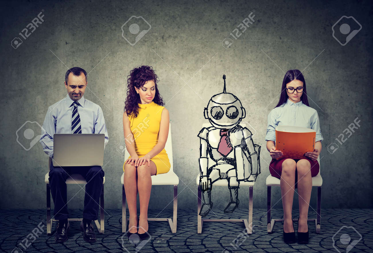 Cartoon robot sitting in line with applicants for a job interview - 86585662