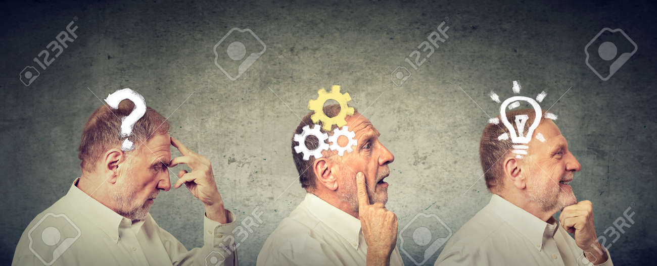 Emotional intelligence. Side view of an elderly man thoughtful, thinking, finding solution with gear mechanism, question, lightbulb symbols. Human face expression - 95480891