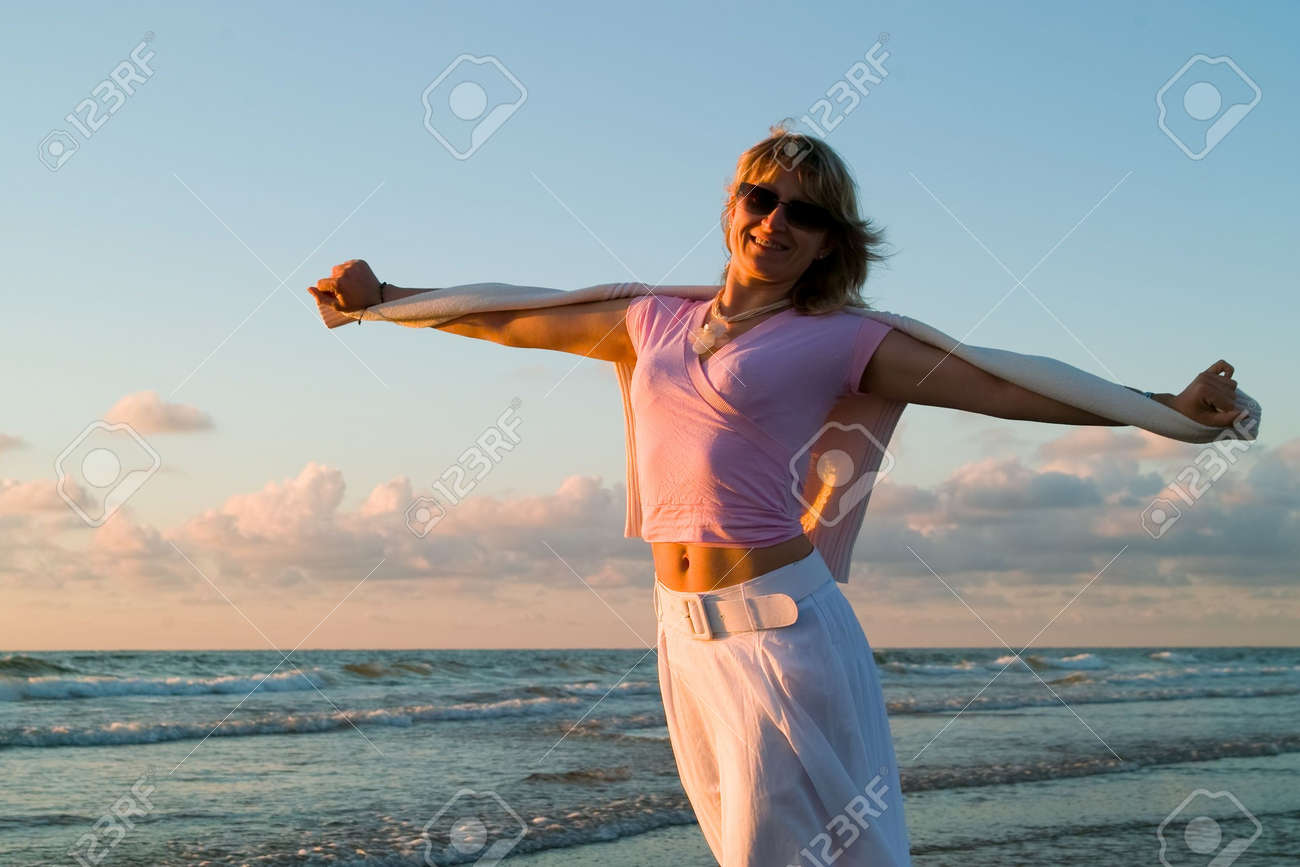 attractive blond girl at the seaside Stock Photo - 1328857