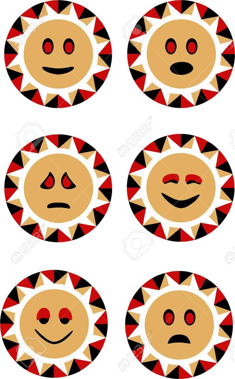 set of vector sun smiley faces Stock Vector - 17086332