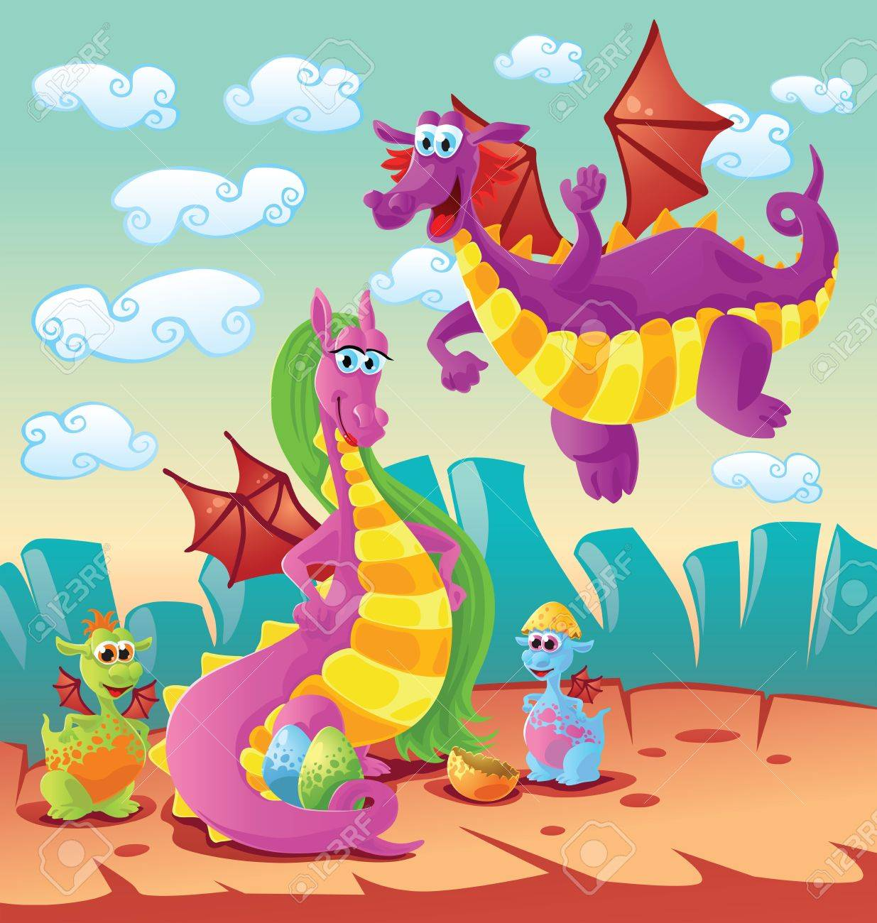 EXCLUSIVE - Actual Dragon Family Pictures 12462621-dragon-family-scene-Stock-Vector-dragon-cartoon-kids