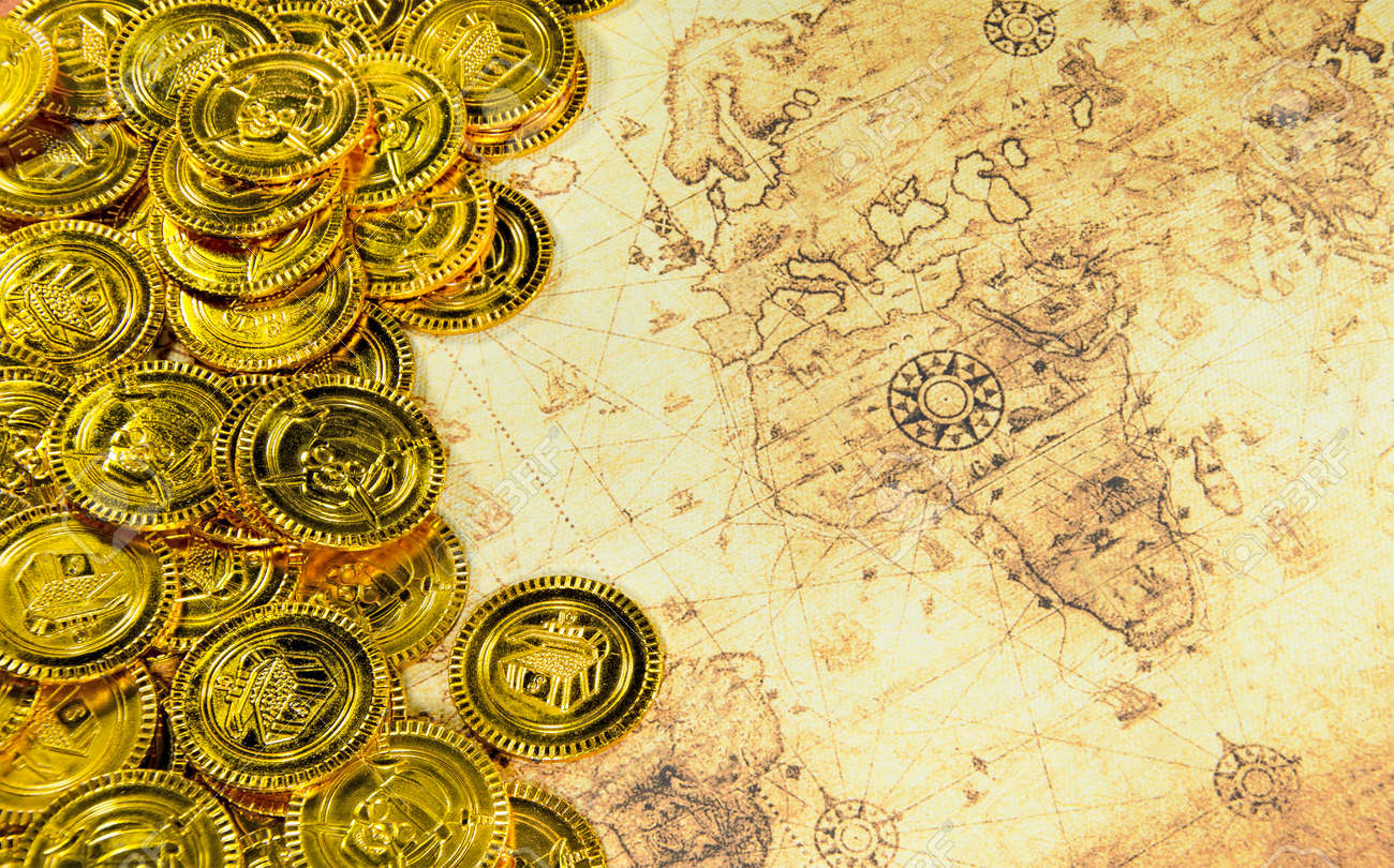 Pirate World Map.Pirate Golden Coin On A Old World Map Stock Photo Picture And