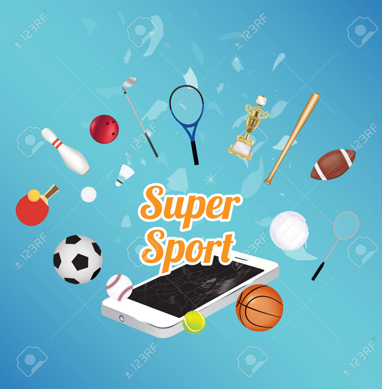 0ef892d158d Super Sport on smartphone screen with sport equipment floating on exploded  smartphone Stock Vector - 58063903