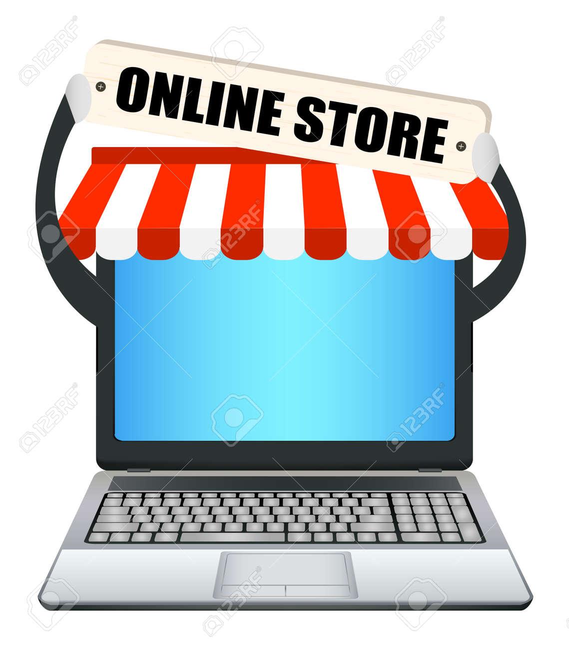Tiendas De Ordenadores Online.Ordenador Portatil Con La Bandera En La Tienda Online
