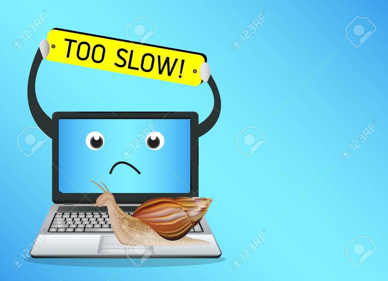 snail on a slow laptop - 61951776