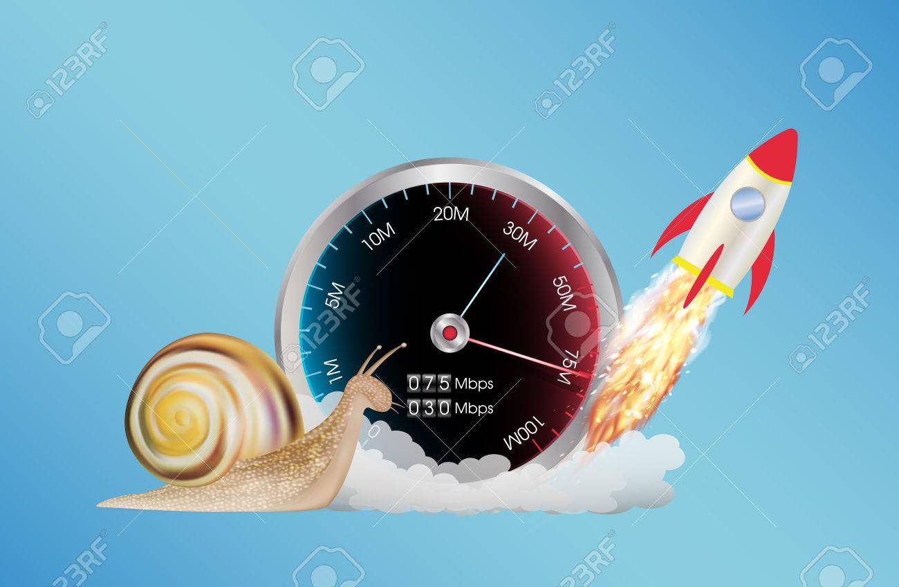 internet speed meter with rocket and snail - 61951852