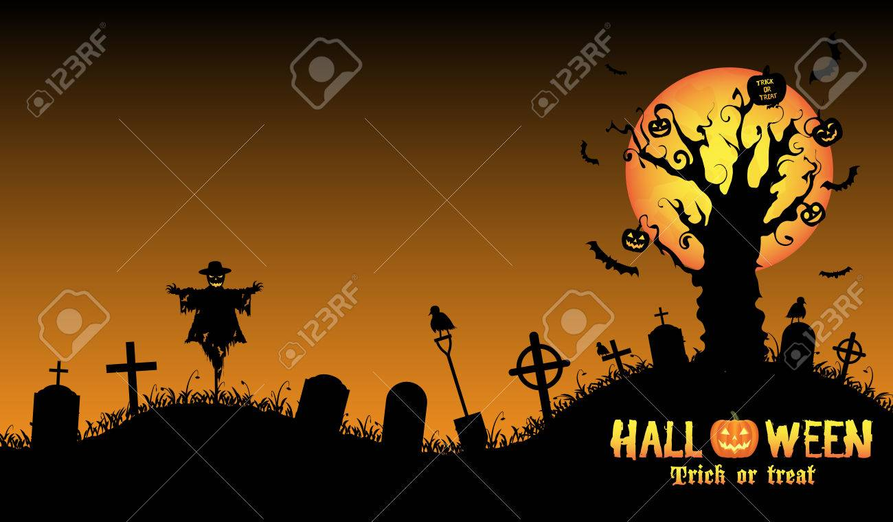 Halloween Graveyard Background Vector Royalty Free Cliparts ...