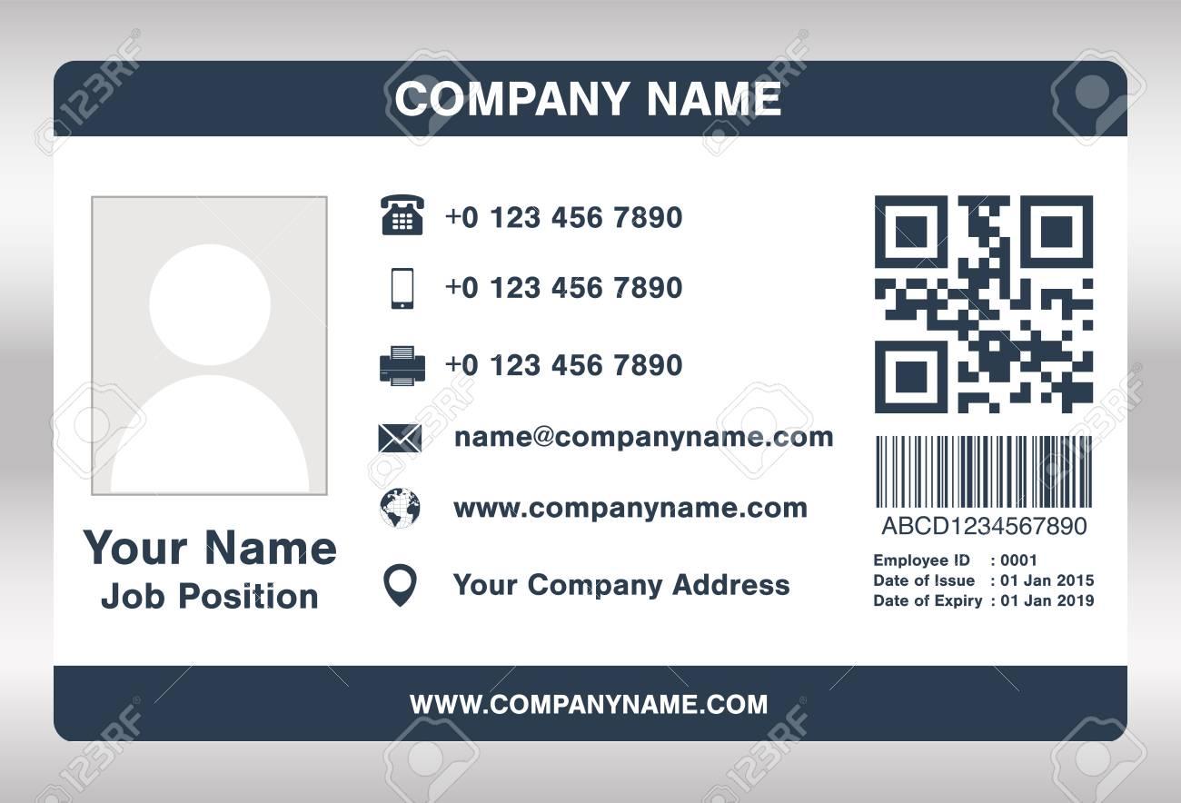 Simple Azul Plantilla De Tarjeta De Identificación De Empleado ...