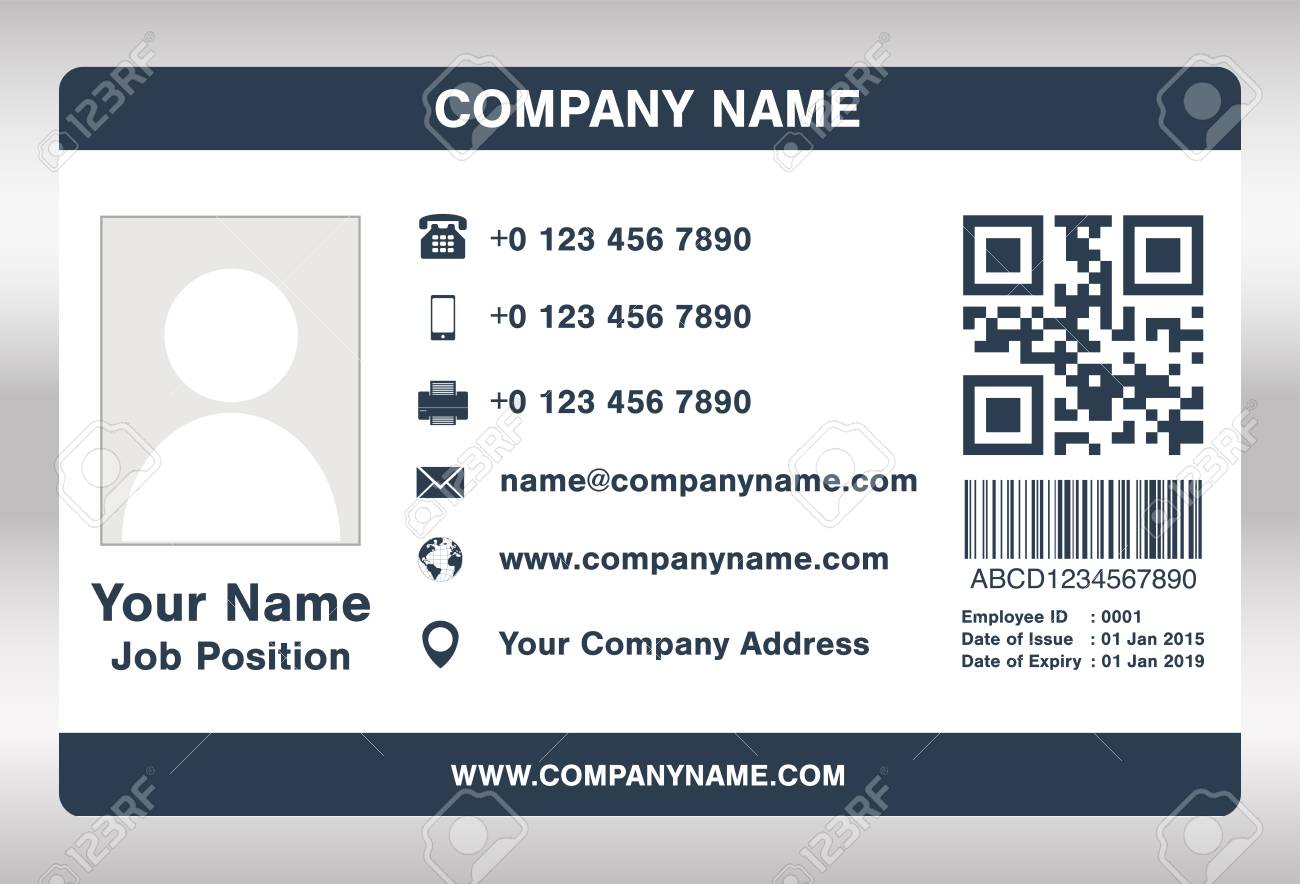simple blue employee id card template vector royalty free cliparts