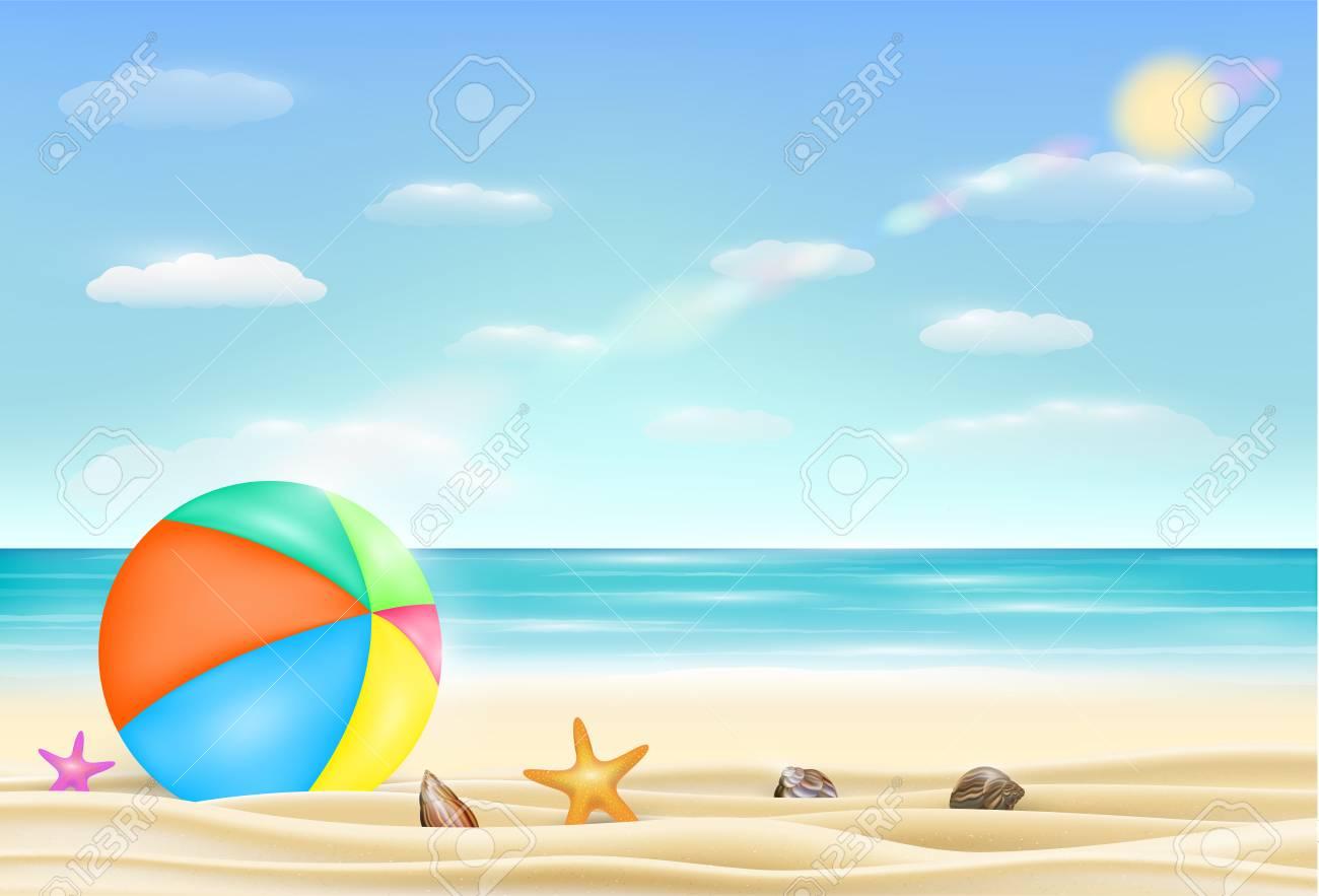 beach ball in sand.  Beach Beach Ball On A Sea Sand With Starfish And Shell Stock Vector   75266967 On Beach Ball In Sand M