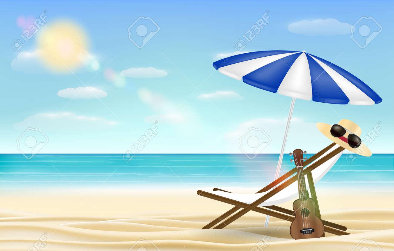 Relax beach chair umbrella with sea beach background Stock Vector - 78420489 & Relax Beach Chair Umbrella With Sea Beach Background Royalty Free ...