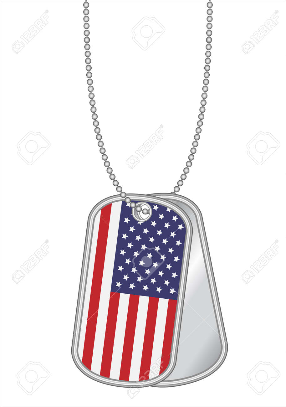 dfd67e2d3681 united states of america flag on a steel dog tag Stock Vector - 79590741