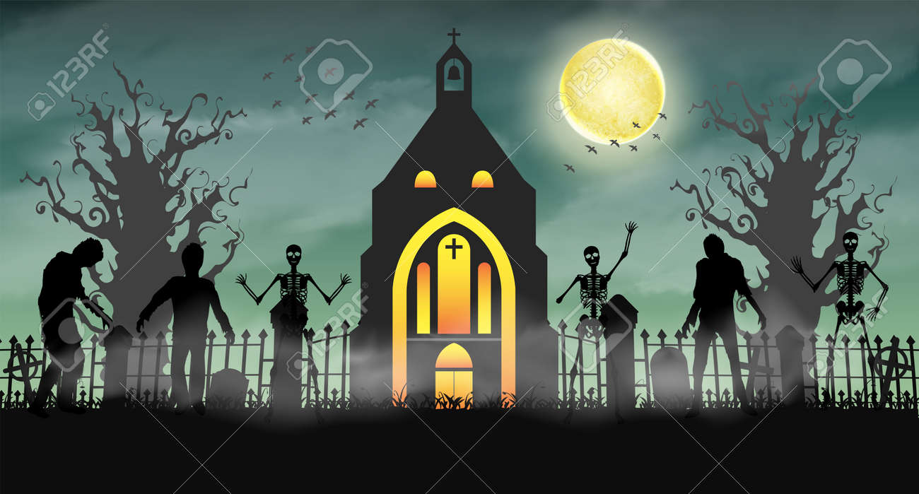 halloween scary zombie in graveyard with church stock vector 84699929
