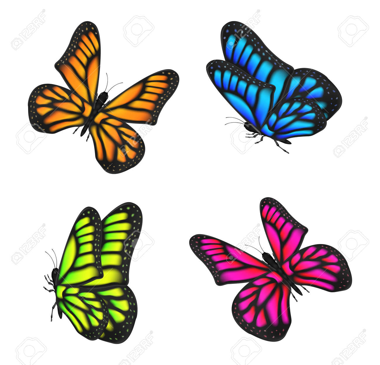 Set Of Real Colorful Butterfly Flying Isolated On White Background ...
