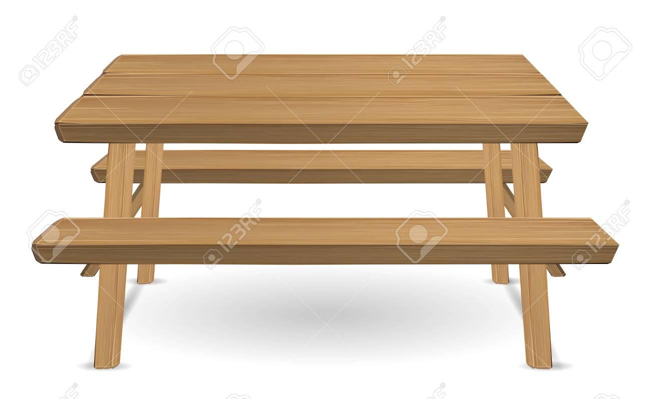 picnic wood table on a white background - 91947863