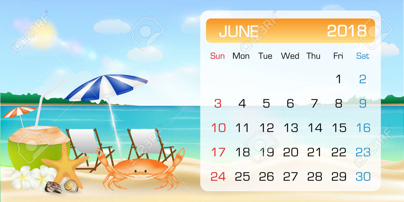 calendar of june 2018 theme summer beach relax stock vector 91876675