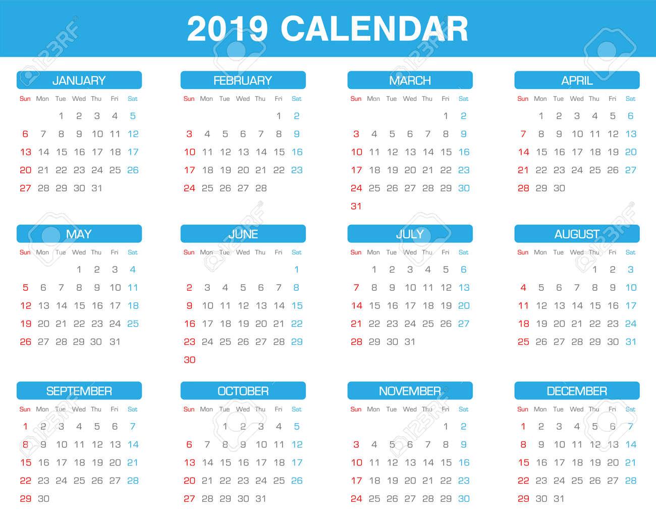 Calendario De Año Simple 2019 Conjunto De Todos Los Meses Ilustraciones Vectoriales Clip Art Vectorizado Libre De Derechos Image 92045256