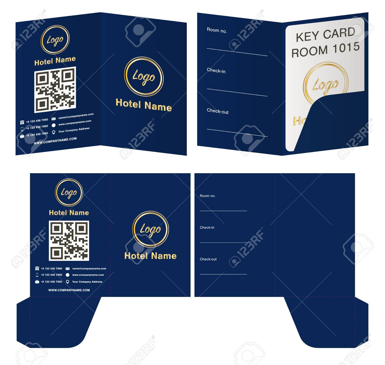 Hotel Key Card Holder Folder Package Template Design