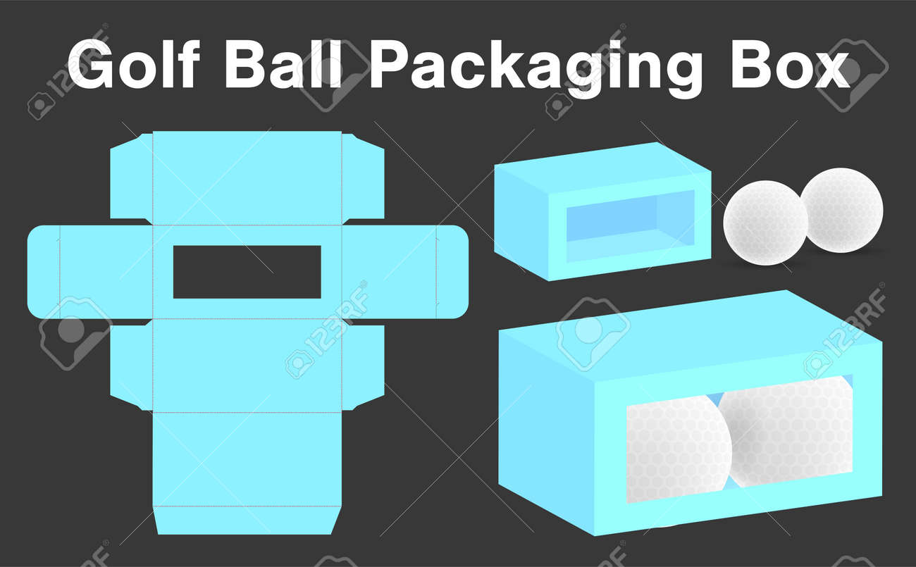 golf ball box package template design 3d mock up illustration