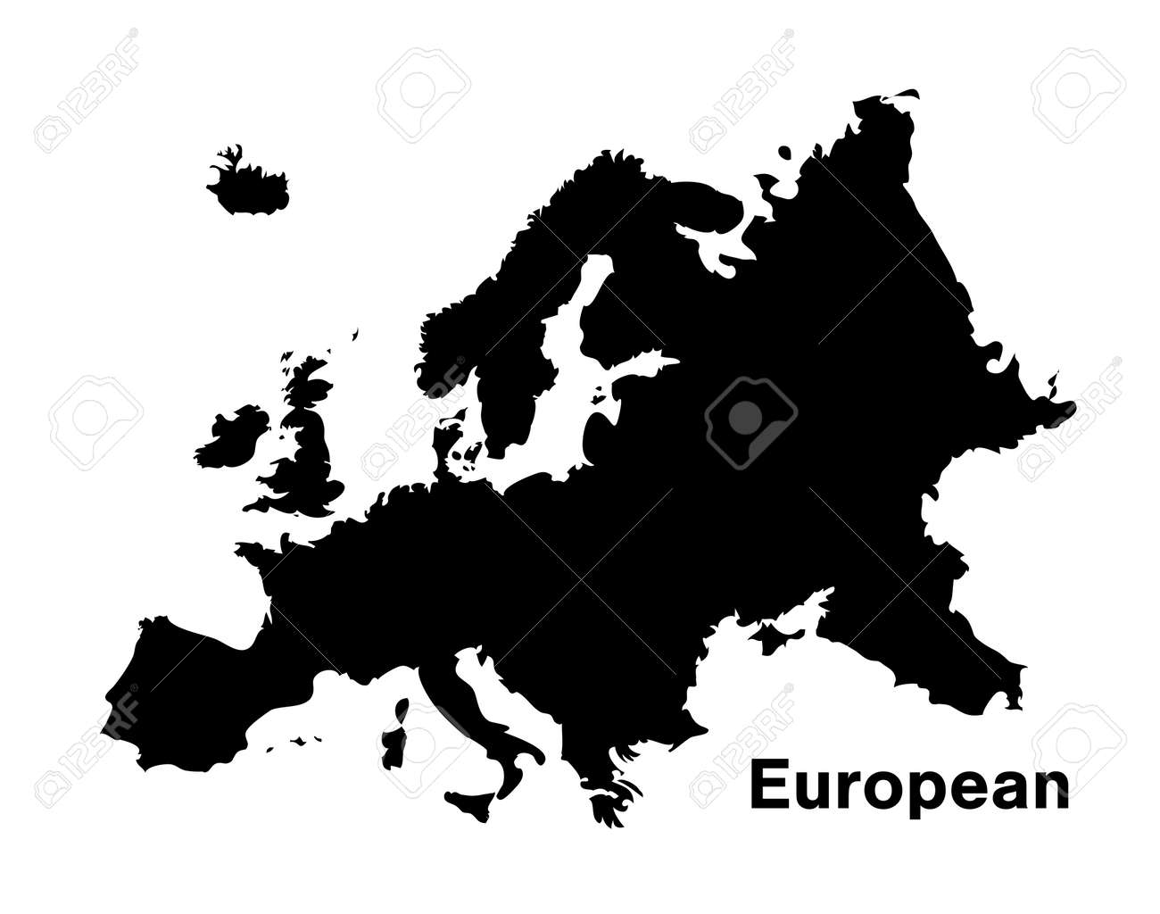 Picture of: Black Silhouette European Map On White Background Royalty Free Cliparts Vectors And Stock Illustration Image 95523353