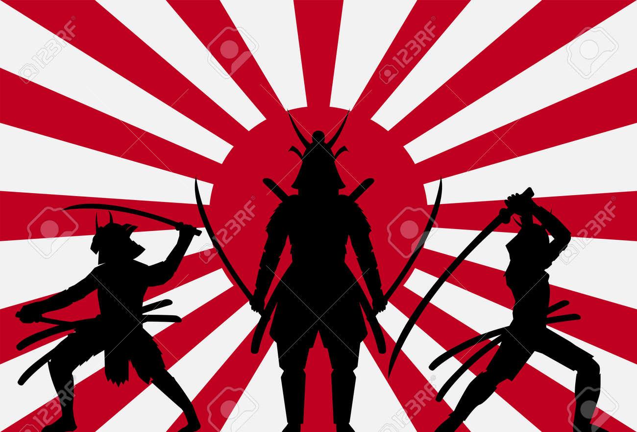silhouette samurai on rising sun japan flag royalty free cliparts rh 123rf com japansese rising sun vector free rising sun vector free download