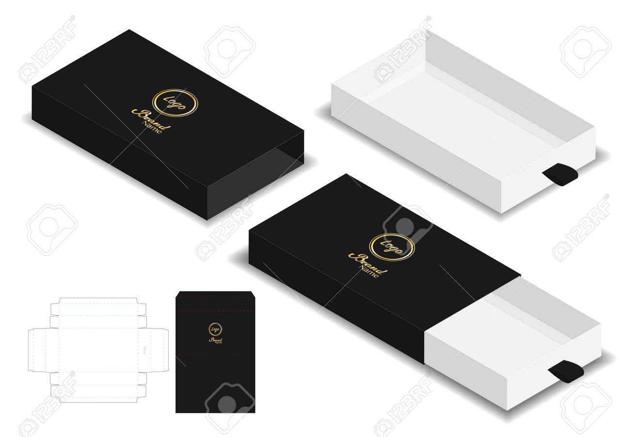 box packaging die cut template 3D mockup - 101631430