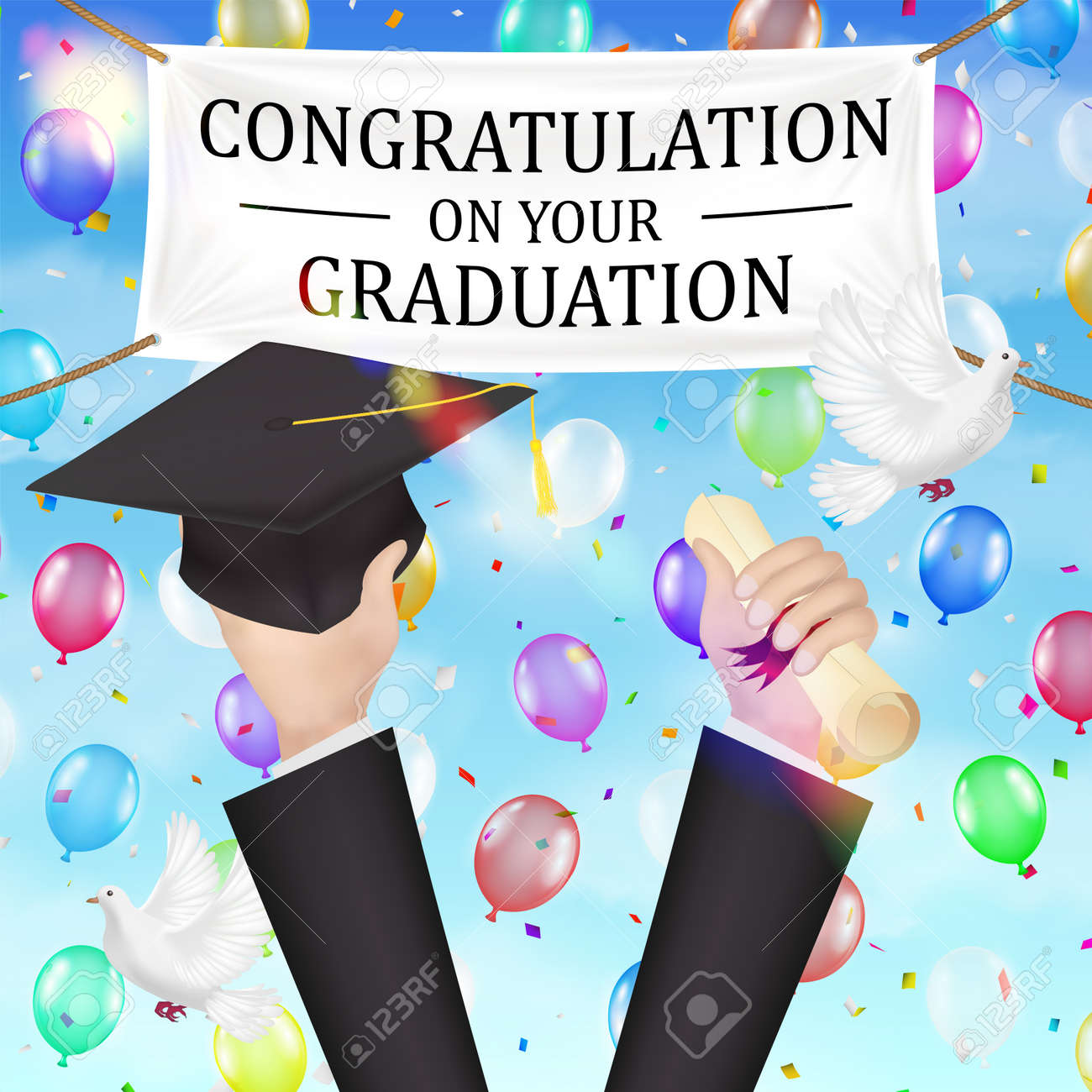 congratulations graduation banner and diploma hat royalty free