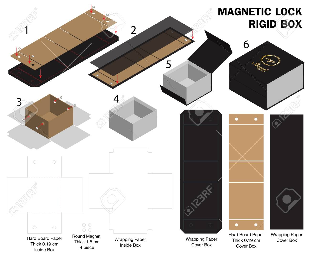 Rigid Magnet Box Template 3d Mockup With Dieline Royalty Free