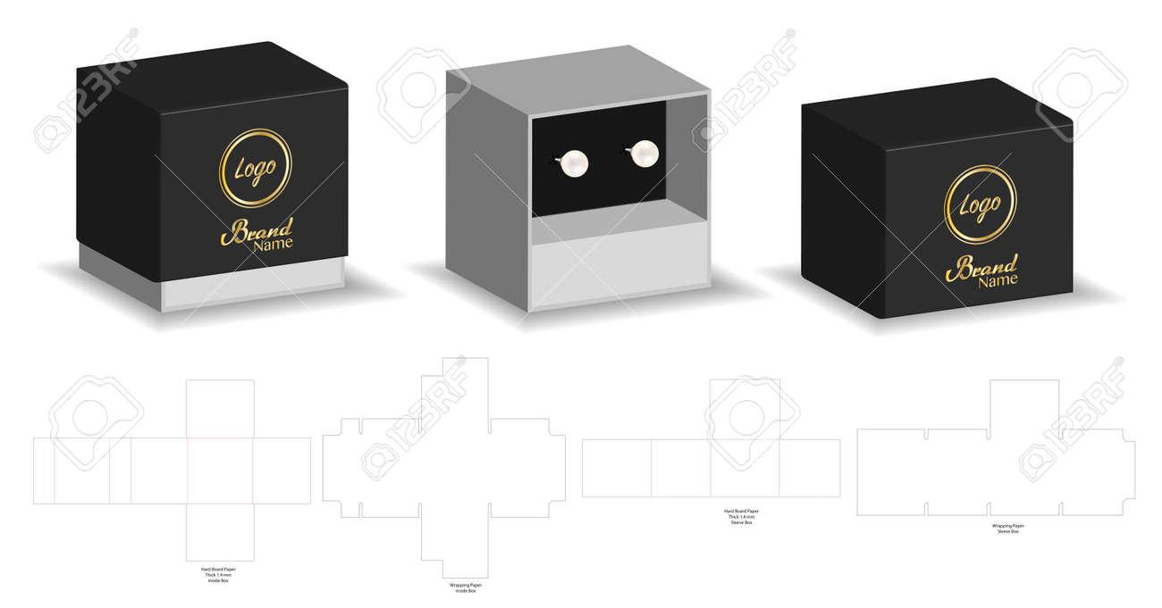 rigid sleeve box die cut mock up template vector ロイヤリティフリー