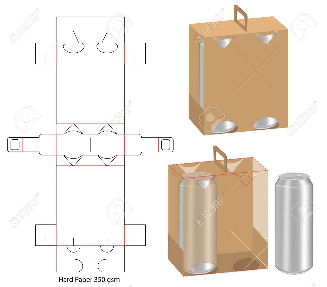 beverage packaging die cut template design. 3d mock-up - 117426442